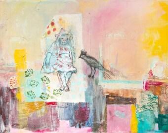 Fine Art Print, Landscape Print, Giclee Art, yellow pink green, turquoise, girl, abstract landscape, modern wall art, by Ana Gonzalez