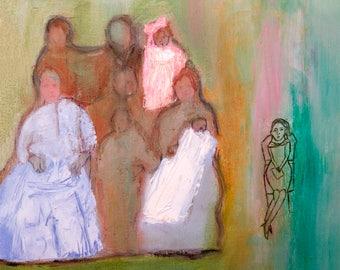 Art Print download, digital Print, Printable download, digital 300 DPI JPG vintage family, blue pink green, instant download Spanish Art