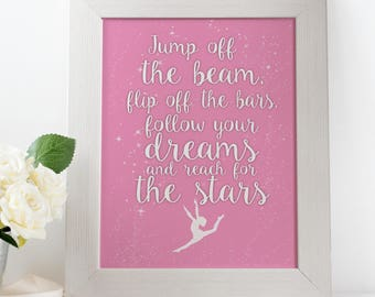 Jump off the beam, gymnastics, typography quote FRAMED art print, home decor gift