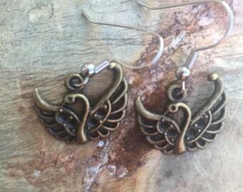 Swan charm earring set 501