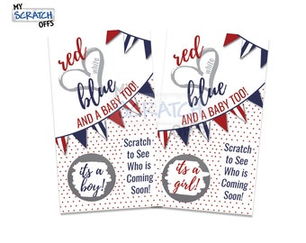 Patriotic Gender Reveal Red, White, and Blue Scratch Off - (25 cards) Gender Announcement Scratch-Off Game Card