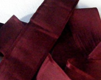 Antique Victorian Era Sash Ribbon 1 5/8 Inch Wine Stripe