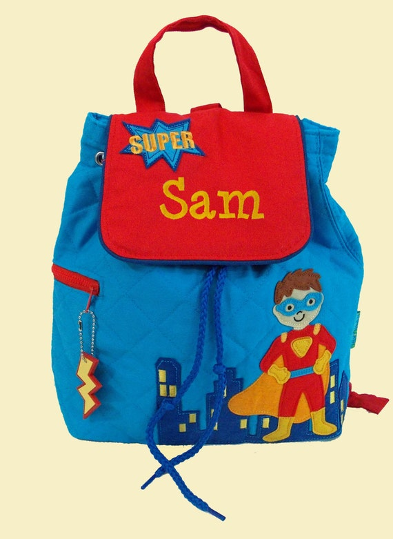 Personalized Child's Stephen Joseph Quilted SUPER HERO  Backpack-Monogrammiong Is Included