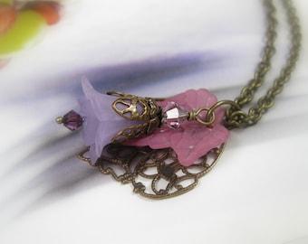 Flower and Leaf Necklace, Purple Flower Necklace, Vintaj Brass, Swarovski Crystal, Spring Jewelry, Antique Brass, Pastels, Anniversary Gifts