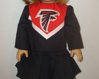 """18 Inch Doll Clothes/Atlanta Falcons/3 piece Cheerleader outfit/READY TO SHIP/Made to fit 18""""  Girl doll like American Girl"""
