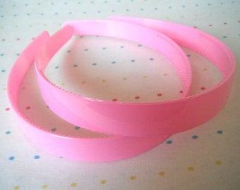 "Wide Bubblegum Pink Pair of Plastic Headbands, 3/4"" Wide"