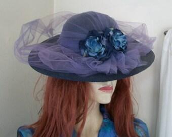 1940s Vintage Natural Navy Straw Wide Brim Hat Purple Tulle Floral Trim One Size