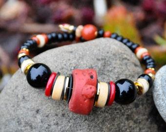 Sherpa Coral, Bone and Black Onyx!!