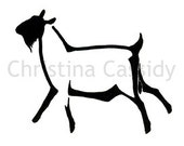 Reserved for epona142 Dairy Goat Art: The Stylized Buck. Original Ink Drawing for Tattoo Design. Dairy Goat Art. Digital File.