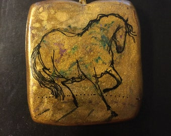 Horse Jewelry: The Very Gold Horse Pendant. Original Ink Drawing on Polymer Clay. Gold, Blue Violet and Black 4247