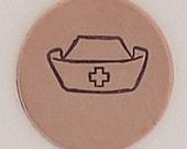 Nurses Cap Metal Design Stamp 6mm  - Metal Jewelry Stamping Tool