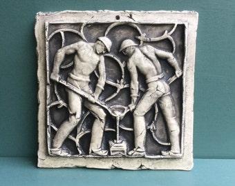 Forgers Ceramic Pottery Relief Men Sculpture Tile