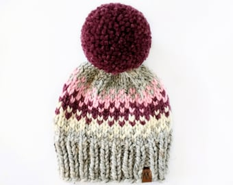 Fair Isle Hat Pattern // Pom Pom Hat Knitting Pattern // Hat Knitting Pattern for Kids // Knitting Patterns for Women