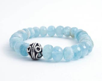 Aquamarine with Sterling Silver Beaded Bracelet - Aquamarine Bracelet - March Birthstone Bracelet - March Bracelet - Meditation - Yoga