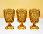 "Anchor Hocking Fairfield Amber Small Wine Goblets, Set of 3,  5 1/8"" Tall Wine, Cocktail, Footed Rocks Glasses"