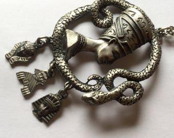 Clearance Egyptian Motif Snake Pendant Vintage Necklace