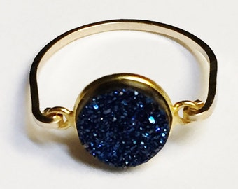 Druzy Ring   Blue Druzy Ring   Blue Druzy Gemstone Ring   Blue Druzy Bezel Ring  14k Gold Filled Ring
