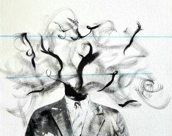 Mess-head no. 004- Mixed media - Original Artwork