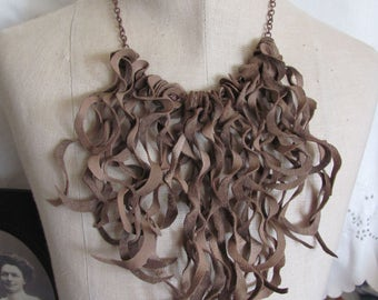 Beautiful Brown Soft Suede Leather Curly Fringe Necklace Choker (#15) Many to choose from!