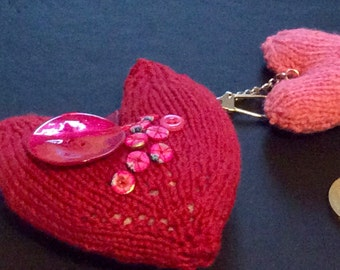 decorated padded hearts keyring, knitted hearts, red and pink hearts