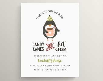 candy canes and cocoa party invitation // holiday party // hot chocolate // penguin //birthday invitation // modern // christmas // kids