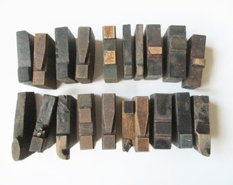 Antique type blocks: Punctuation type blocks, print blocks, print letters, antique print, poster punctuation, period, comma, apostrophe etc