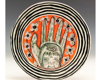 Hand Series - Original Painting by Jenny Mendes on a Ceramic Dessert Plate - Unique and One of a Kind - Girl in Hand