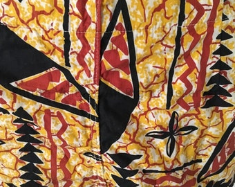 """1950s Made in California Red Yellow and Black Hawaiian Print Swim Shorts with Metal Side Zipper and Button Closure-30"""" Waist"""