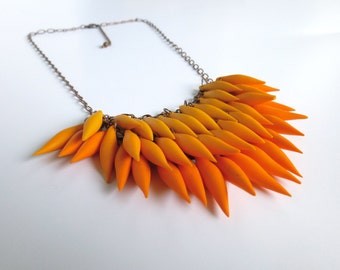 Tangerine / Orange Polymer Clay Spike Ombre Statement Necklace (Petite Version) / Antique Copper