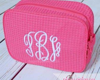 Cosmetic Bag | Monogram Makeup Bag | Makeup Case | Waffle Weave Cosmetic bag