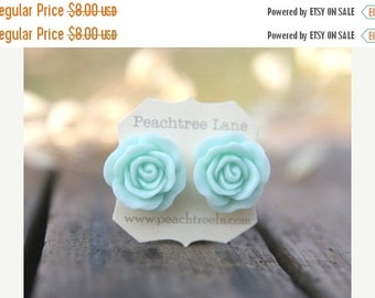 CHRISTMAS SALE Large Mint Seafoam Green Rose Flower Earrings // Bridesmaid Gifts // Outdoor Rustic Wedding // Bridal Shower Gifts