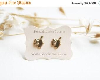 FINAL CLEARANCE Thumbs Up Stud Earrings Raw Brass << Facebook Like Unlike Earrings