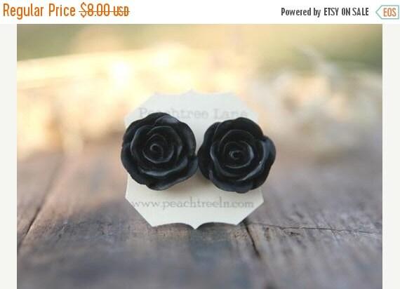 SALE Large Black Rose Flower Earrings // Bridesmaid Gifts // Modern Wedding Jewelry // Vintage Dark Wedding // Goth Wedding