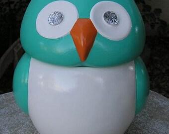 Jeweled Eye Turquoise Owl Cookie Jar