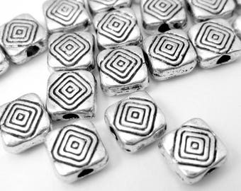 30 square Silver Spacer Beads 6mm HP(S2),