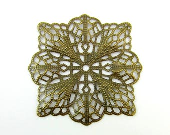 8 stamped filigree jewelry medallions antique bronze 4.7 x 4.7 cm  DIY jewelry supply B14(SR),