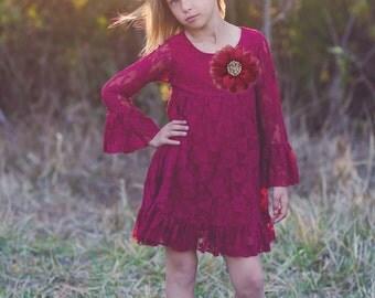 Burgundy Long sleeve Flower Girl Dresses- Christmas Dress- Maroon Lace dress- Rustic Girls Dress- Baby Lace Dress- Junior Bridesmaid