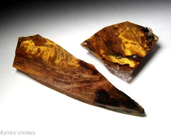 2 Golden Pietersite Shards, AA Grade Polished Pieces // Third Eye Chakra // Crystal Healing // Mineral Specimen