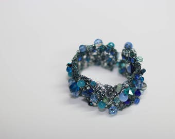 Handmade beaded cuff bracelet , creative unique in turquoise blue