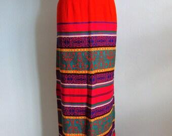 60s cotton Guatemala Ethnic Striped Skirt size medium