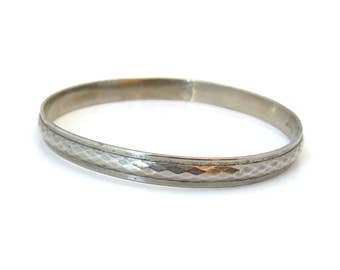 CORO Textured Metal Bangle Bracelet • Signed Silver-tone • Vintage 1940s Jewelry