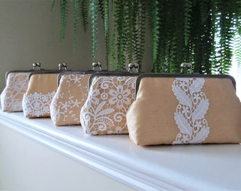 SALE, 20% Off, Mis Matched Lace Bridesmaid Clutches Set of 5,Bridal Accessories,Wedding Clutch,Lace Clutch,Bridesmaid Clutch