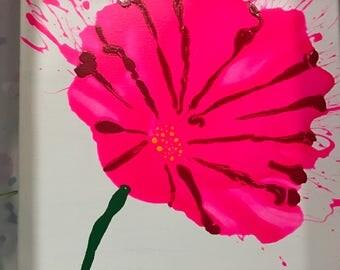 "Pink flower on 12"" x 12"""