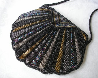 Black Beaded Purse, Evening Bag, Vintage Clutch, Shoulder Bag, Cocktail, Bugle Beads, Seed Bead, Deco, Gatsby, Prom, Party, Black Bag, 1920s