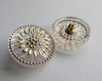 Czech Clear Glass Daisy Button, 18mm Czech Glass Button, 18mm Button, Daisy Button,  Czech Glass Daisy, Czech Glass Buttons, 01170131TRAN