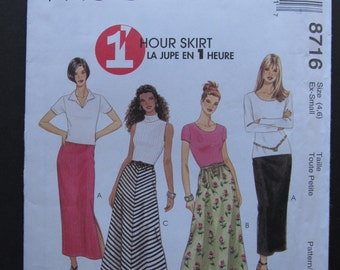 McCalls 8716/Uncut Sewing Pattern/Misses One Hour Skirt/Pull-on Skirt/Stretch Knits Only/Size 4-6/1997