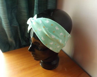 Mint Dragons Faux Knot Turban Style Headband