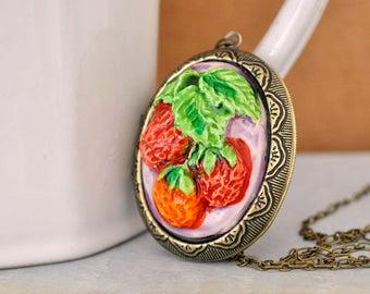 Strawberry locket, vintage handprinted cab, large oval brass locket, long chain
