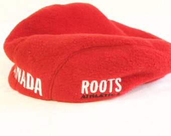 Vintage Canadian Hat -  Nagano Olympics Red Fleece Roots Athelics Cap size medium