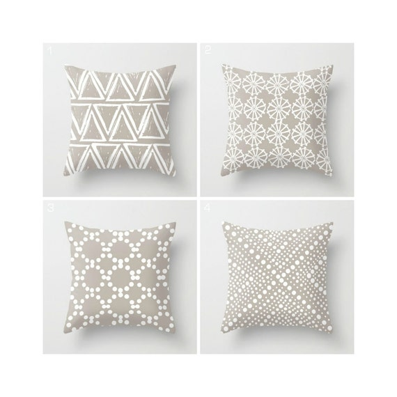 Taupe Throw Pillow - Warm Gray Throw Pillow - Modern Throw Pillow - Gray Cushion  Geometric Pillow - Warm Gray Throw Pillow 16 18 20 24 inch